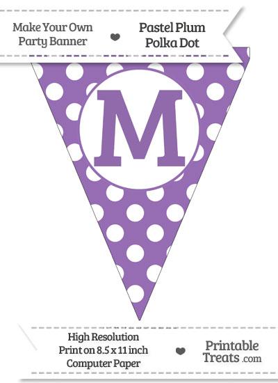 Pastel Plum Polka Dot Pennant Flag Capital Letter M from PrintableTreats.com