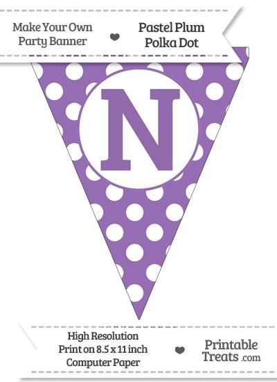 Pastel Plum Polka Dot Pennant Flag Capital Letter N from PrintableTreats.com