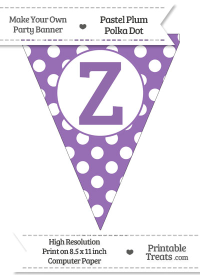 Pastel Plum Polka Dot Pennant Flag Capital Letter Z from PrintableTreats.com