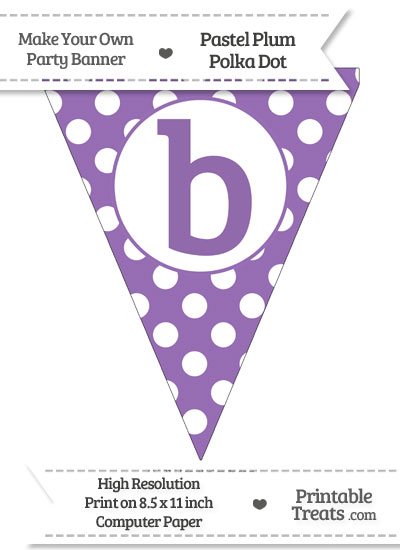 Pastel Plum Polka Dot Pennant Flag Lowercase Letter B from PrintableTreats.com