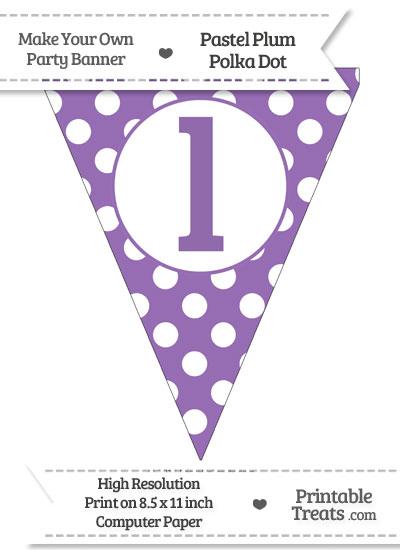 Pastel Plum Polka Dot Pennant Flag Lowercase Letter L from PrintableTreats.com