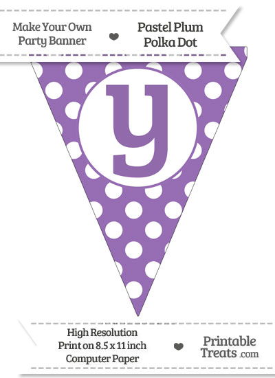 Pastel Plum Polka Dot Pennant Flag Lowercase Letter Y from PrintableTreats.com