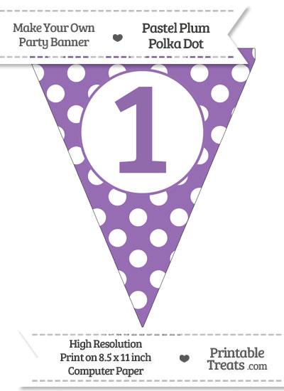 Pastel Plum Polka Dot Pennant Flag Number 1 from PrintableTreats.com