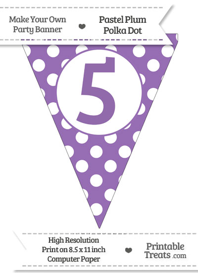 Pastel Plum Polka Dot Pennant Flag Number 5 from PrintableTreats.com