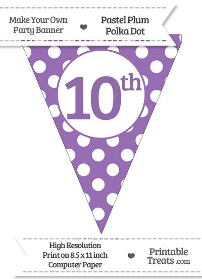 Pastel Plum Polka Dot Pennant Flag Ordinal Number 10th from PrintableTreats.com