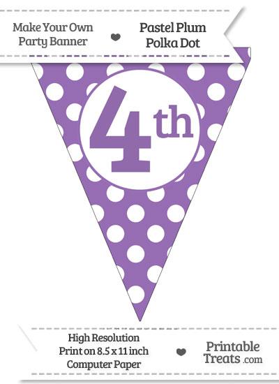 Pastel Plum Polka Dot Pennant Flag Ordinal Number 4th from PrintableTreats.com