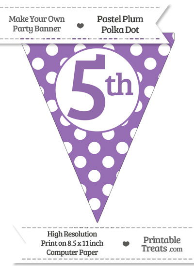 Pastel Plum Polka Dot Pennant Flag Ordinal Number 5th from PrintableTreats.com