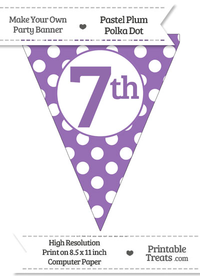 Pastel Plum Polka Dot Pennant Flag Ordinal Number 7th from PrintableTreats.com