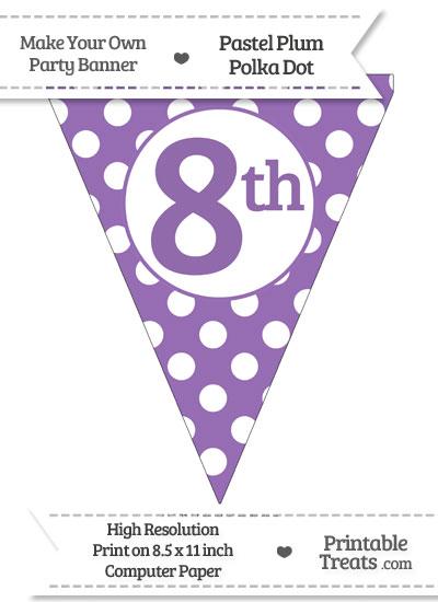 Pastel Plum Polka Dot Pennant Flag Ordinal Number 8th from PrintableTreats.com
