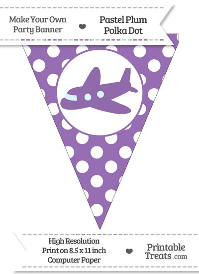 Pastel Plum Polka Dot Pennant Flag with Airplane Facing Left from PrintableTreats.com