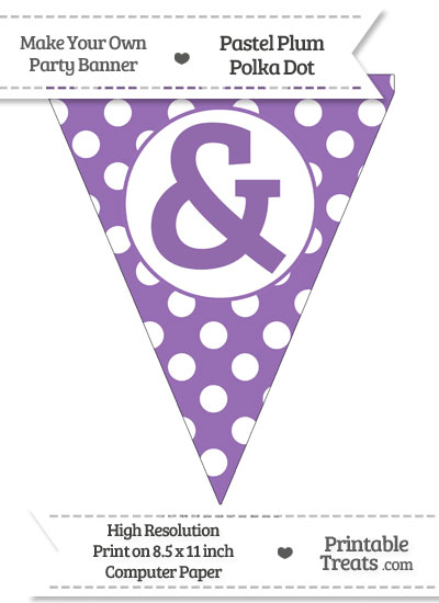 Pastel Plum Polka Dot Pennant Flag with Ampersand from PrintableTreats.com