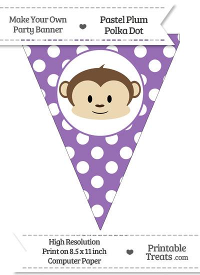 Pastel Plum Polka Dot Pennant Flag with Boy Monkey from PrintableTreats.com