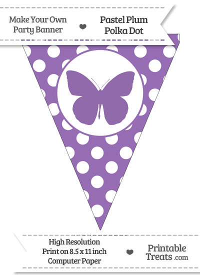 Pastel Plum Polka Dot Pennant Flag with Butterfly from PrintableTreats.com