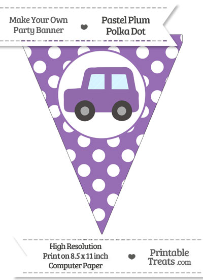 Pastel Plum Polka Dot Pennant Flag with Car Facing Left from PrintableTreats.com