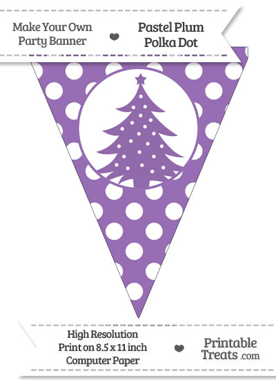 Pastel Plum Polka Dot Pennant Flag with Christmas Tree from PrintableTreats.com