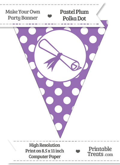 Pastel Plum Polka Dot Pennant Flag with Diploma from PrintableTreats.com