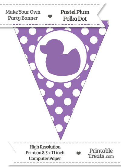 Pastel Plum Polka Dot Pennant Flag with Duck Facing Left from PrintableTreats.com