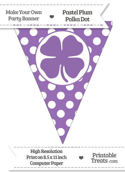 Pastel Plum Polka Dot Pennant Flag with Four Leaf Clover Facing Left from PrintableTreats.com