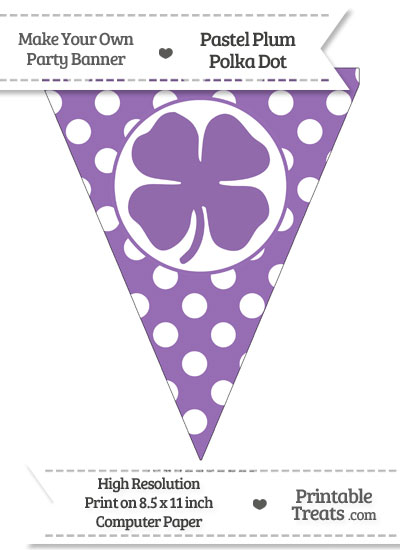 Pastel Plum Polka Dot Pennant Flag with Four Leaf Clover Facing Right from PrintableTreats.com