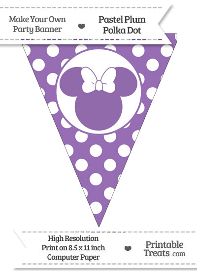 Pastel Plum Polka Dot Pennant Flag with Minnie Mouse from PrintableTreats.com