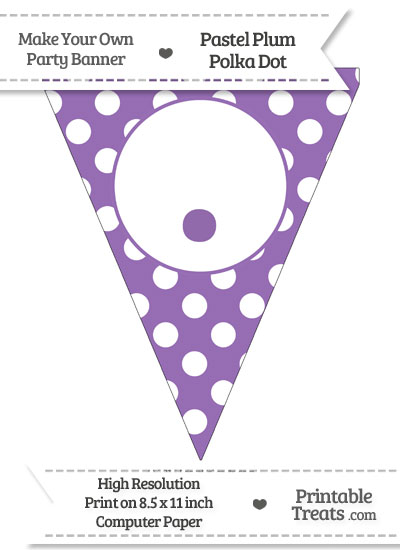 Pastel Plum Polka Dot Pennant Flag with Period from PrintableTreats.com