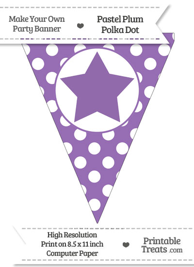 Pastel Plum Polka Dot Pennant Flag with Star from PrintableTreats.com