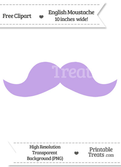 Pastel Purple English Mustache Clipart from PrintableTreats.com
