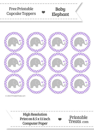 Pastel Purple Polka Dot Baby Elephant Cupcake Toppers from PrintableTreats.com