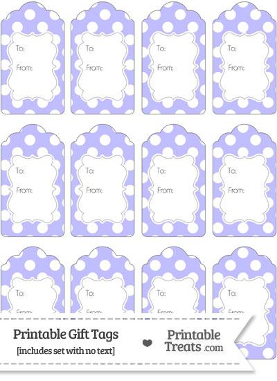 Pastel Purple Polka Dot Gift Tags from PrintableTreats.com