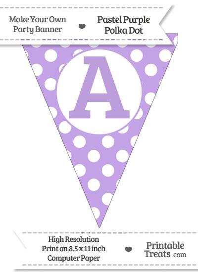 Pastel Purple Polka Dot Pennant Flag Capital Letter A from PrintableTreats.com