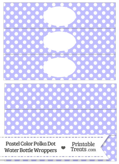 Pastel Purple Polka Dot Water Bottle Wrappers from PrintableTreats.com