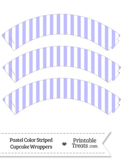Pastel Purple Striped Cupcake Wrappers from PrintableTreats.com