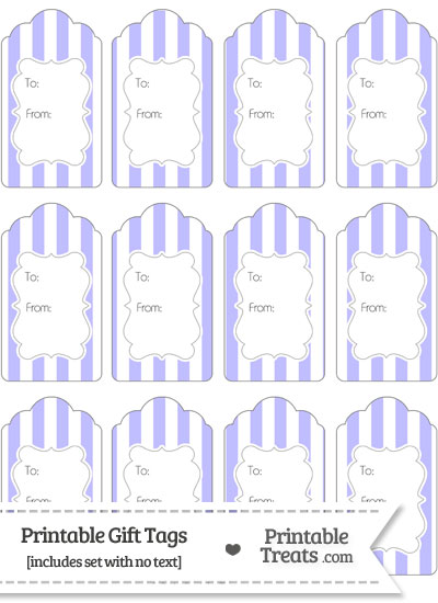 Pastel Purple Striped Gift Tags from PrintableTreats.com