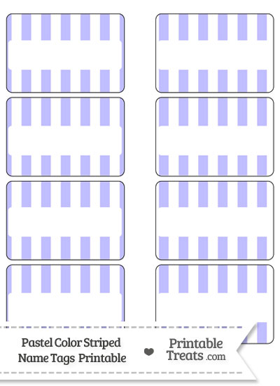 Pastel Purple Striped Name Tags from PrintableTreats.com