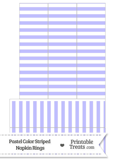 Pastel Purple Striped Napkin Rings from PrintableTreats.com