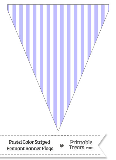 Pastel Purple Striped Pennant Banner Flag from PrintableTreats.com
