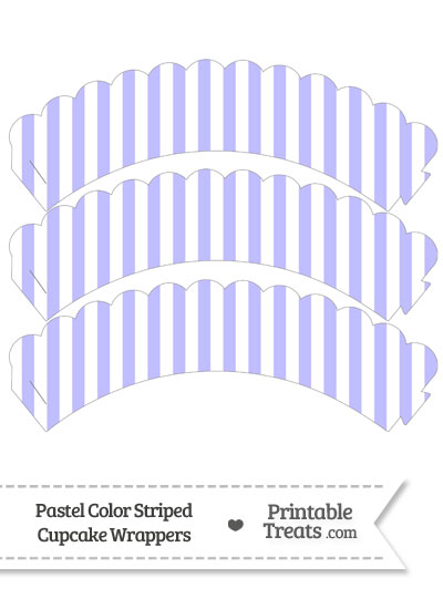 Pastel Purple Striped Scalloped Cupcake Wrappers from PrintableTreats.com