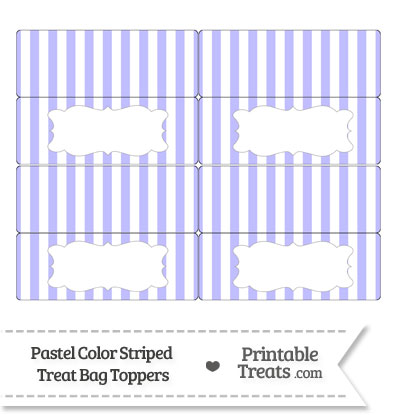 Pastel Purple Striped Treat Bag Toppers from PrintableTreats.com