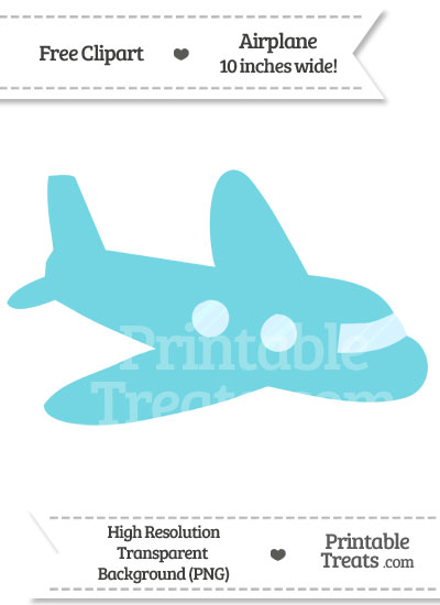 Pastel Teal Airplane Clipart from PrintableTreats.com