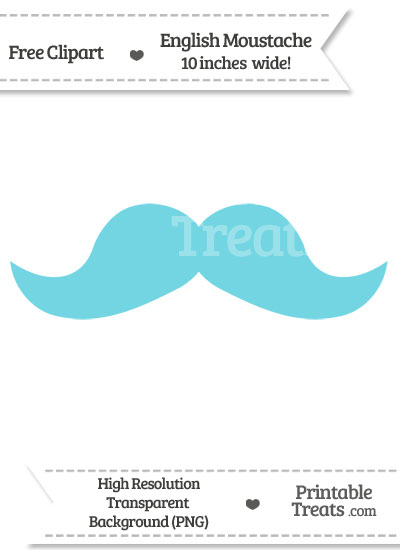 Pastel Teal English Mustache Clipart from PrintableTreats.com