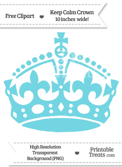 Pastel Teal Keep Calm Crown Clipart from PrintableTreats.com