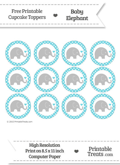 Pastel Teal Polka Dot Baby Elephant Cupcake Toppers from PrintableTreats.com