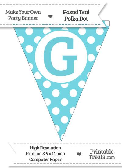 Pastel Teal Polka Dot Pennant Flag Capital Letter G from PrintableTreats.com
