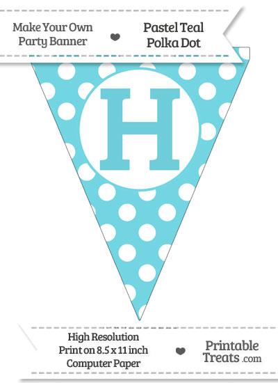 Pastel Teal Polka Dot Pennant Flag Capital Letter H from PrintableTreats.com