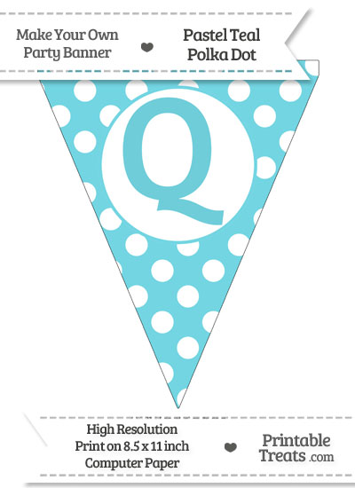 Pastel Teal Polka Dot Pennant Flag Capital Letter Q from PrintableTreats.com