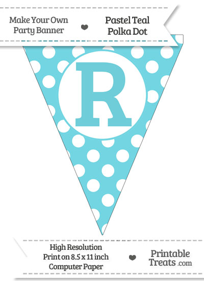Pastel Teal Polka Dot Pennant Flag Capital Letter R from PrintableTreats.com