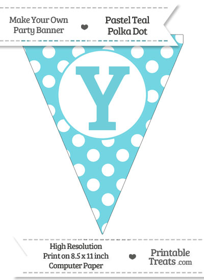Pastel Teal Polka Dot Pennant Flag Capital Letter Y from PrintableTreats.com