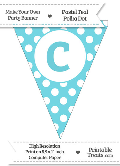 Pastel Teal Polka Dot Pennant Flag Lowercase Letter C from PrintableTreats.com