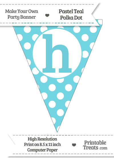 Pastel Teal Polka Dot Pennant Flag Lowercase Letter H from PrintableTreats.com