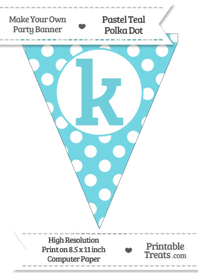 Pastel Teal Polka Dot Pennant Flag Lowercase Letter K from PrintableTreats.com
